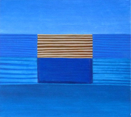 A painting with geometric stripes and blue hues