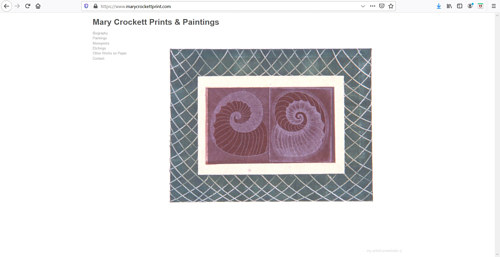 A screen capture of the front page of Mary Crockett's art portfolio website