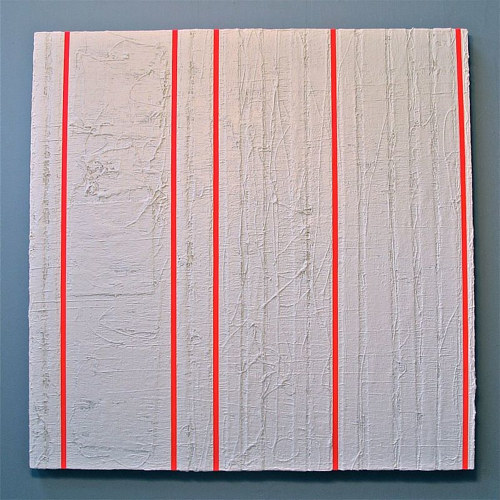 A painting with bright prink stripes over a textured white ground