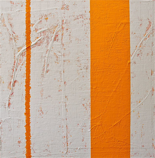 A painting with yellow stripes on a white background