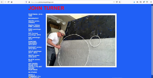 A screen capture of John Turner's art portfolio website