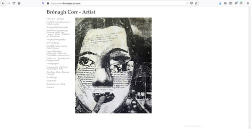 A screen capture of Bronagh Corr's art portfolio website