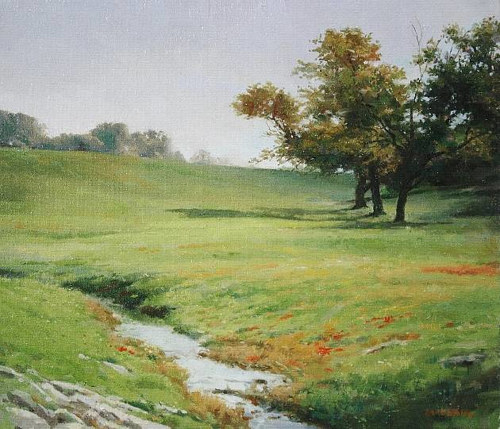 A landscape painting of a green meadow with a creek running through it