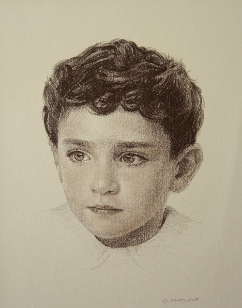 A drawing of a young boy