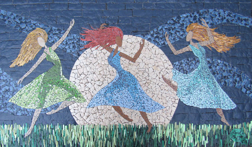 A mosaic artwork of three female figures dancing in moonlight