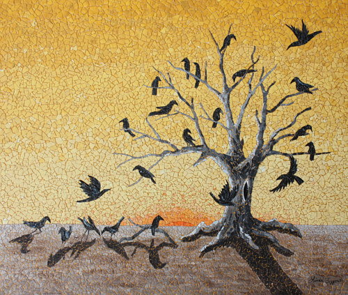 An eggshell mosaic depicting a murder of crows in a tree