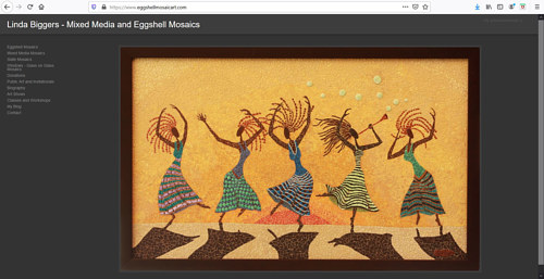A screen capture of Linda Biggers' art portfolio website
