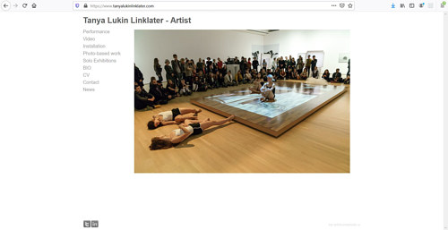 A screen capture of Tanya Lukin Linklater's art portfolio website