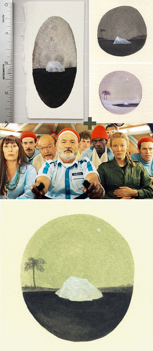 three images of water color paintings and Bill Murray