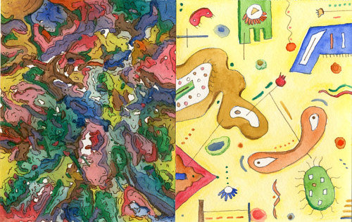 A mixed media painting with abstract forms in two different styles