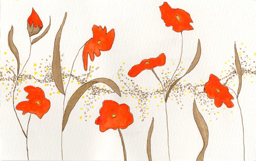 A drawing of poppies with a lot of negative space