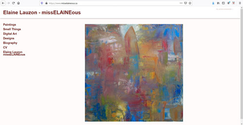 A screen capture of Elaine Lauzon's art portfolio website