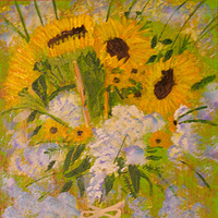 Acrylic painting Sunflowers in vase by anthony Ziegler