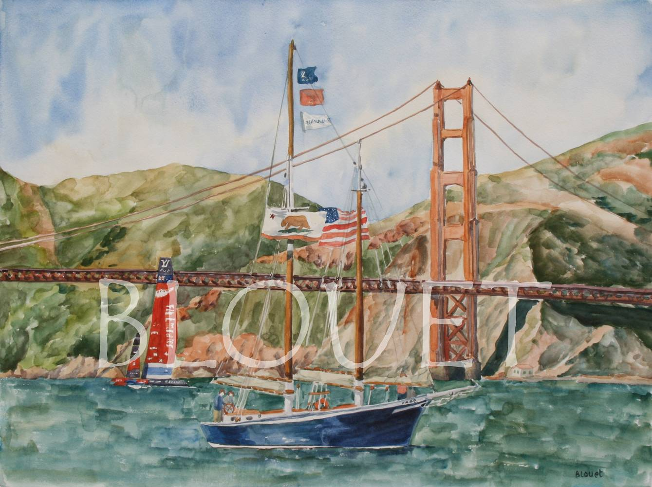 Watercolor Sailing at the Golden Gate by Sophie Dassonville