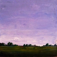 Oil painting Purple Sky-SOLD by Sarah Trundle
