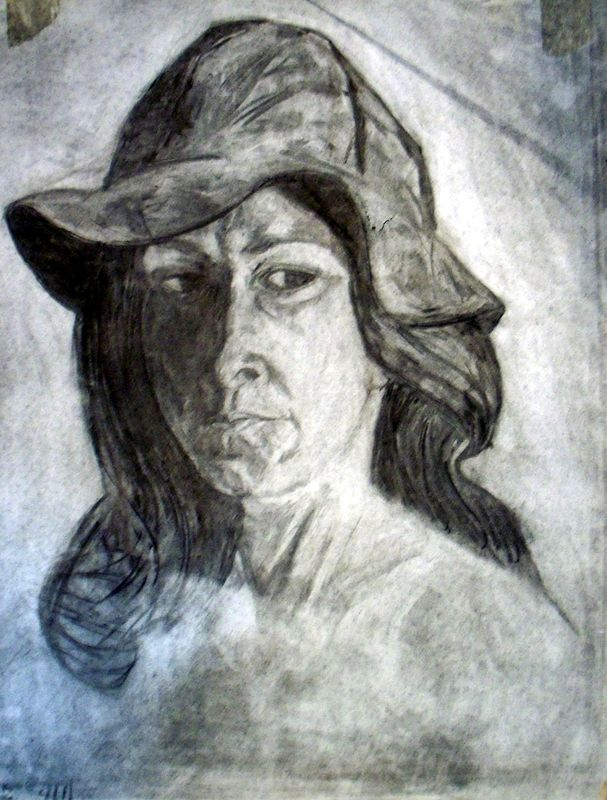 Self-Portrait with Brown Suede Hat by Lynne Stewart