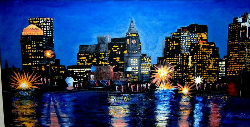 Oil painting Night Lights  by Lynne Stewart