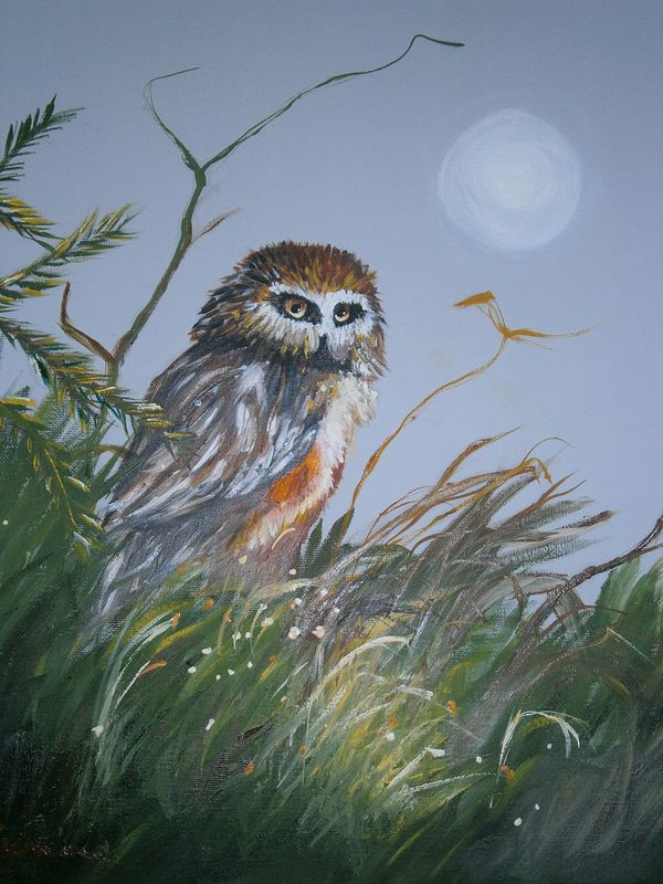 Oil painting Owl in the Moonlight by Lynne Stewart