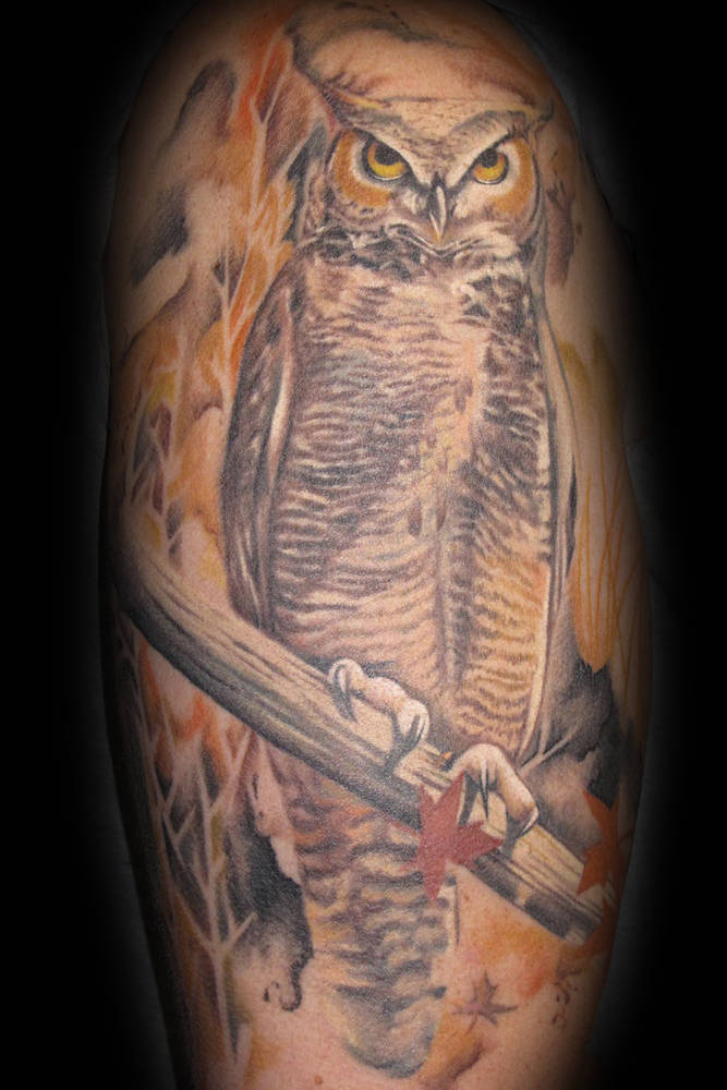 Water Color Owl Tattoo Kelowna B.C. by Erin  Burge