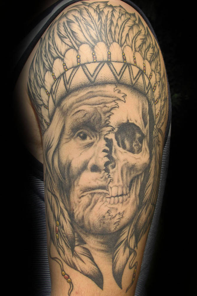 Native Chief/skull Tattoo Kelowna B.C. by Erin  Burge