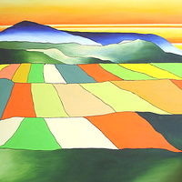 "Prairie Patchwork - Oil on canvas - 30""x30"" by Jeanne Kollee"