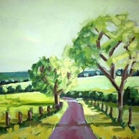 Oil painting Spring Road- SOLD by Sarah Trundle
