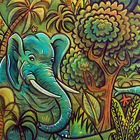 "Acrylic painting ""the Elephant Oasis"" currently at the Trunk Show gallery in Tahoe City by Kenneth M Ruzic"