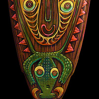 """Sepik River Totem""  bottom detail by Kenneth M Ruzic"