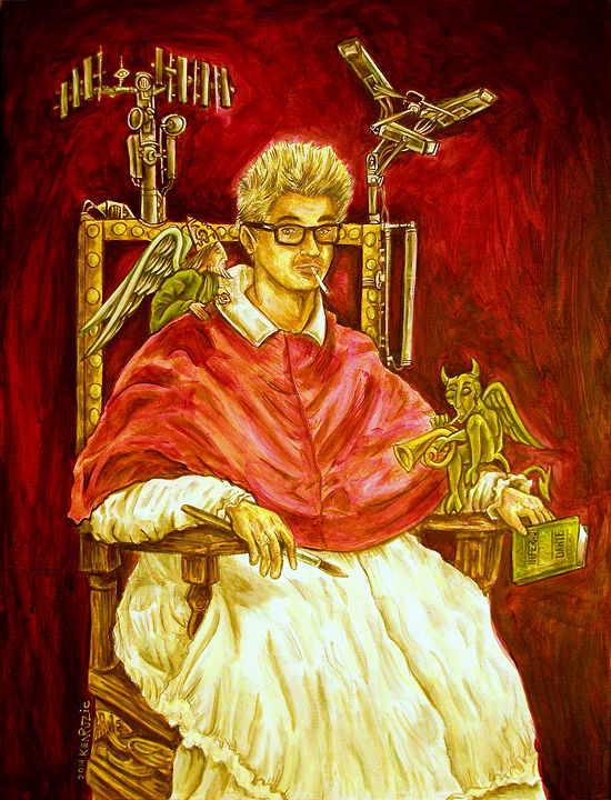 "Acrylic painting ""Self Portrait as Pope Not-So-Innocent X"" (after Velazquez) by Kenneth M Ruzic"
