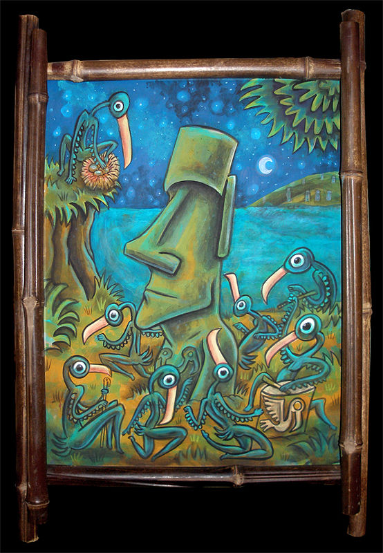 "Acrylic painting ""Rapa Nui Nocturne"" by Kenneth M Ruzic"