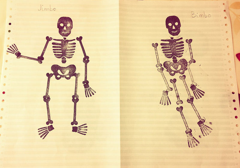 Stamping Skeletons with my four year old nephew! by ROSE WILLIAMS
