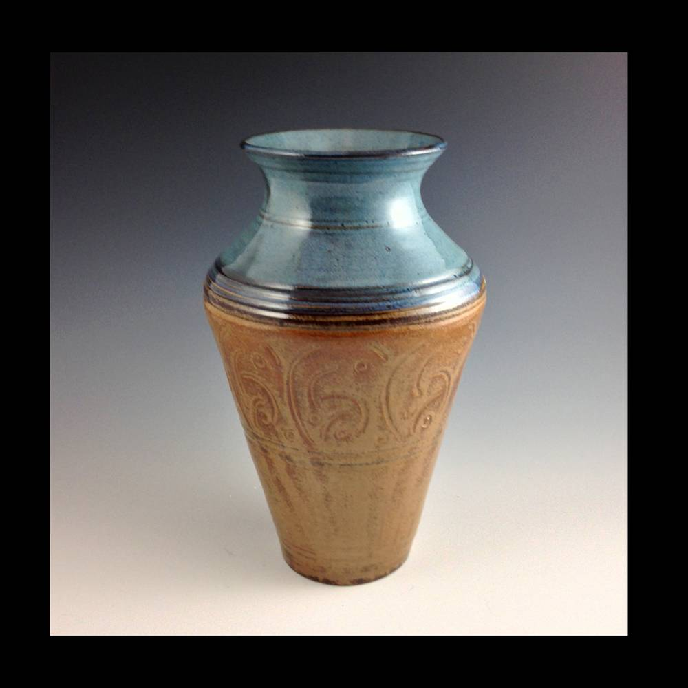 2014-161 8 inch vase blue carved series by Elaine Clapper