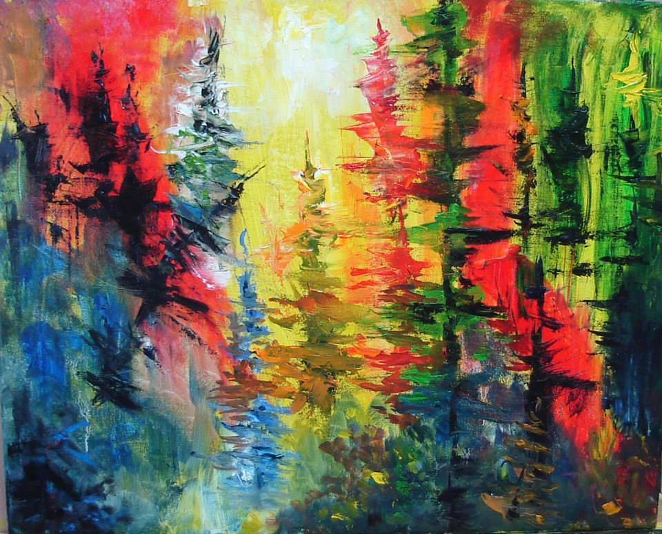 "Yellow Bright forest - oil on canvas - 16""X20"" by Jeanne Kollee"