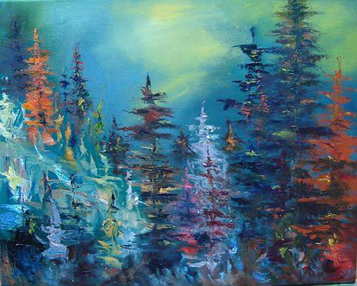 "Painting Northern Light forest - Oil on canvas - 16""x20"" by Jeanne Kollee"