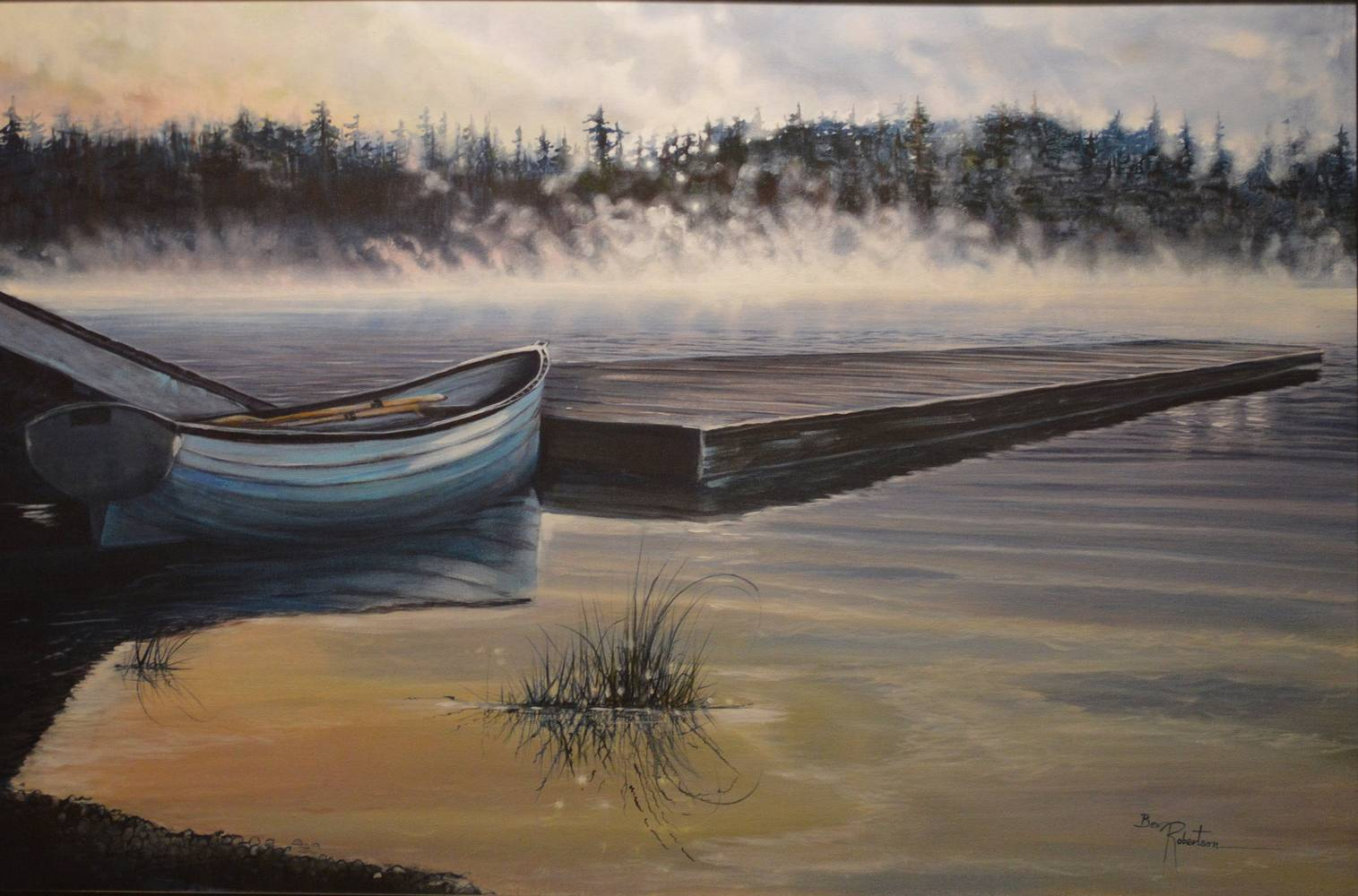 Acrylic painting Early Morning Mist Riing by Bev Robertson