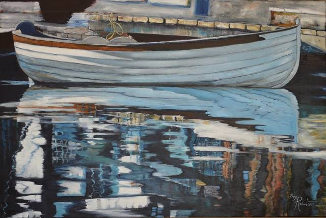 Oil painting Safe Harbour by Bev Robertson