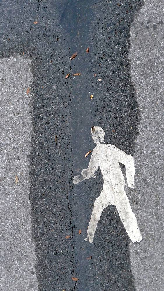 NYC Man#40299 Sidewalk, Hudson River Parkway, NYC by Edward Bock