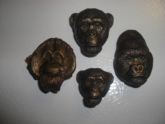 Sculpture Orangutan, Mountain Gorilla and Chimpanzee magnet set (bronze finish) by Jason  Shanaman