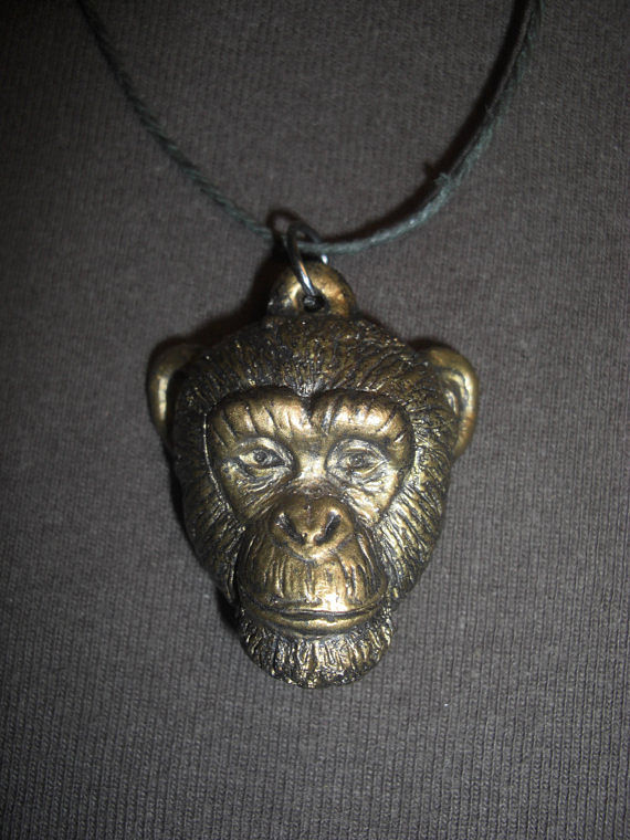 Painting Chimpanzee pendant (large in bronze finish) by Jason  Shanaman