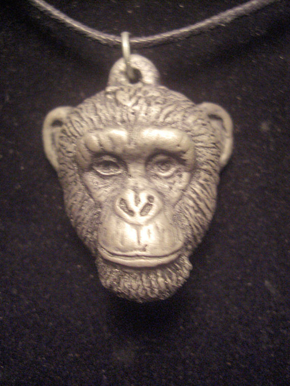 Chimpanzee pendant (large in cold cast pewter) by Jason  Shanaman