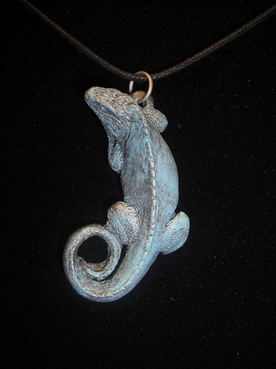 Painting Blue Iguana pendant (cold cast pewter with patina) by Jason  Shanaman