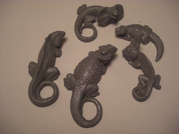 Lizard magnet set (cold cast pewter) by Jason  Shanaman