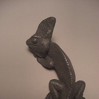 Sculpture Veiled Chameleon magnet (cold cast pewter) by Jason  Shanaman