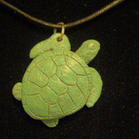 Sculpture Sea Turtle pendant (cold cast pewter in green finish) by Jason  Shanaman