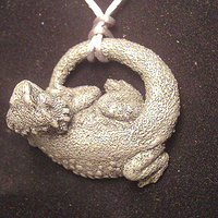 Bearded Dragon pendant (cold cast pewter) knotted style by Jason  Shanaman