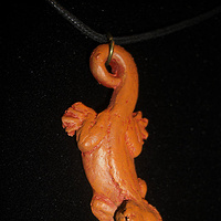 Painting Crested Gecko pendant (orange/yellow phase) by Jason  Shanaman