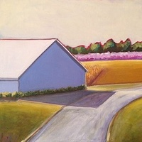 Oil painting Barn with Pink Trees- SOLD by Sarah Trundle