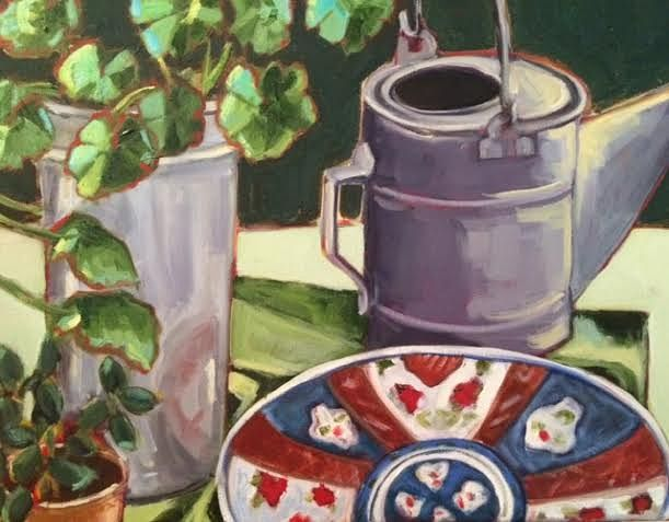 Oil painting Watering Can by Sarah Trundle