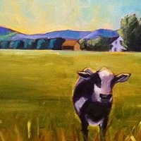 Oil painting Heidi's Cow at Whitehall- SOLD by Sarah Trundle