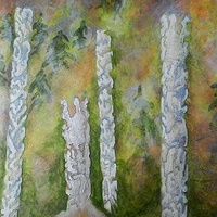 Mixed-media artwork Rising Spirits by Karen Holland